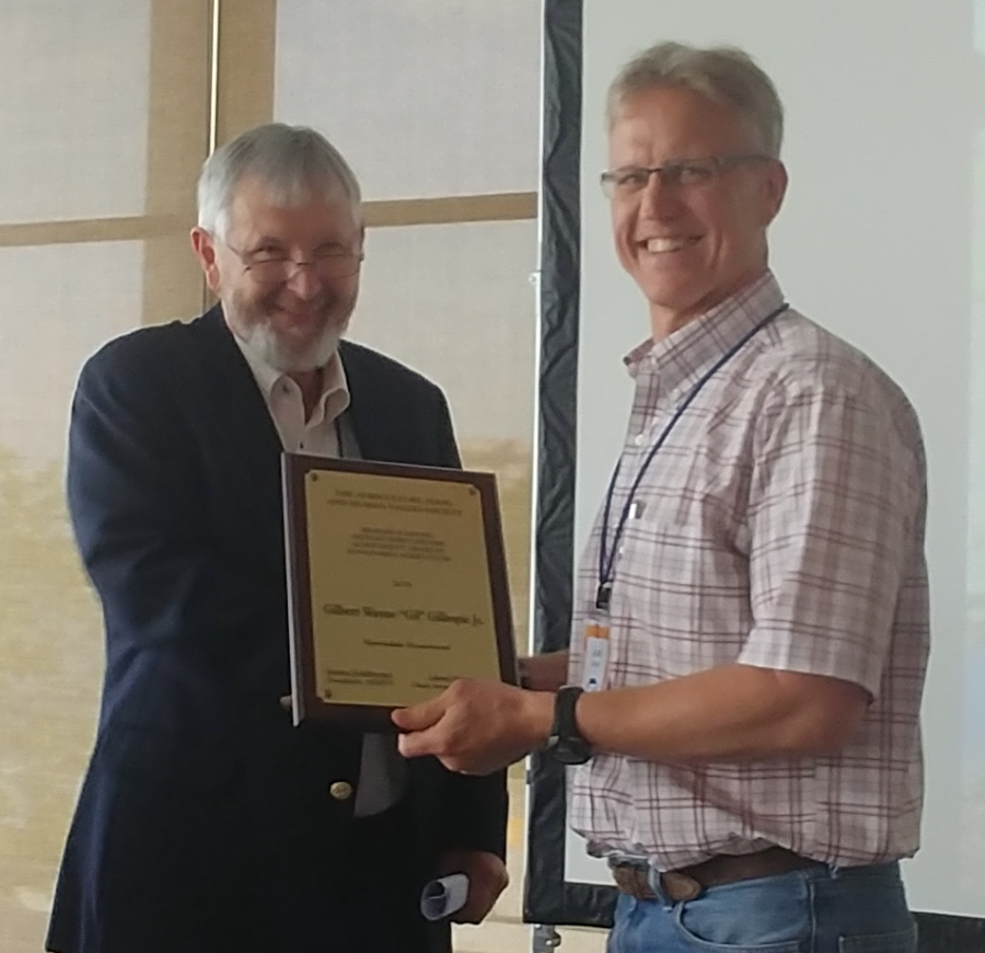 Gil Gillespie (left) receives AFHVS's Leifetime Achievement Award, June 16, 2018